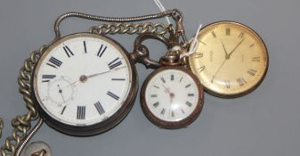 A silver pocket watch and two others, including a fob watch.