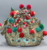 A 19th century 1860's Chinese gilt metal kingfisher feather and coloured pom pom theatrical