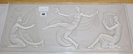 A Sabino rectangular glass panel, signed length 61.5cm