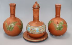 Three Victorian pottery vases and a stand tallest 30cm