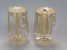 A pair of Victorian glass table lustres