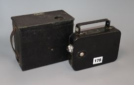 A Kodak 8mm cine camera and stereoscopic box camera