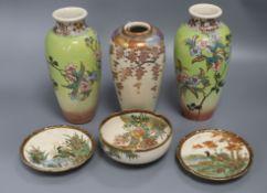 Three Satsuma vases and three smaller Satsuma