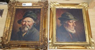 Austrian School, two oils on panel, Portraits of smoking gentlemen, 26 x 21cm