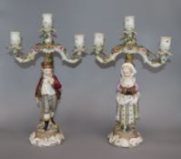 A pair of Continental porcelain candelabra height 36cm