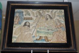 An 18th century embroidered picture of a Biblical scene
