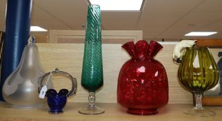 A cranberry glass shade and four other items shade 33cm