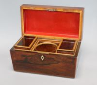 An early Victorian rosewood tea caddy length 32cm