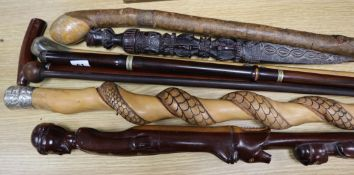 Seven wood walking canes and a carved wood phurba