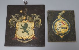 Two small painted hatchments largest 19 x 17cm