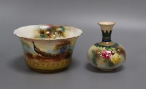 A Royal Worcester small bowl painted with peacock and pine cones by F. J. Bray and a Hadley's