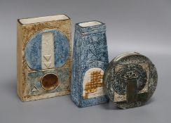 Three Troika vases, including a geometric incised rectangular vase by Penny Broadrib, a wheel vase