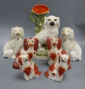 Three pairs of Staffordshire dogs and a single