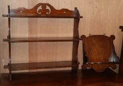 A late Victorian mahogany hanging book shelf and a mahogany wall bracket Bracket W.66cm