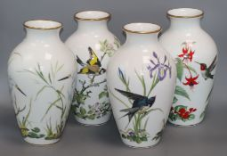 A set of four Franklin porcelain bird vases