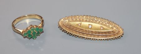 A late Victorian 15ct gold, diamond and seed pearl set mourning brooch and a yellow metal and gem