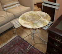A circular metal garden table and a pair of folding chairs Table 54cm diameter