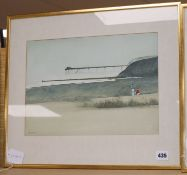 John Bond (1945-) watercolour, Two figures and a pier, signed, 26 x 37cm