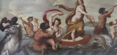 After Botticelli, oil on oak panel, Venus and Tritons at sea, 30 x 64cm, unframed