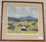 Paul Henry, limited edition colour print, Cottages in a landscape, signed in pencil, 38 x 41cm