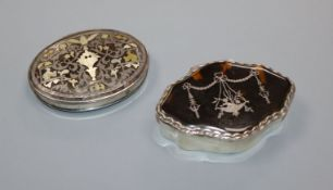 A George V silver and tortoiseshell pique trinket box by William Comyns and a white metal, mother of