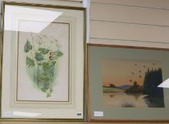 Fish Hawk, watercolour, Ducks over a lake, 27 x 36cm and a botanical study by Dugald Graham-