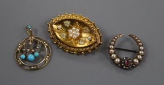 A pearl and ruby-set brooch, a 9ct, turquoise, pearl and gold openwork pendant and a pearl-set