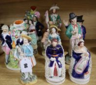 Eleven Victorian Staffordshire and other figures