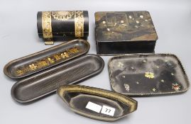 A Victorian papier mache cylindrical jewellery box, and five other papier mache items