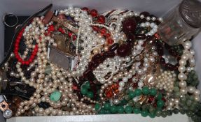 A group of assorted costume jewellery etc. including silver mounted toilet jar.