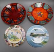 Two Poole Pottery wall chargers, 'Exodus' and 'Volcano' and two limited edition plates, Coalport '