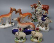 Seven Victorian Staffordshire figures