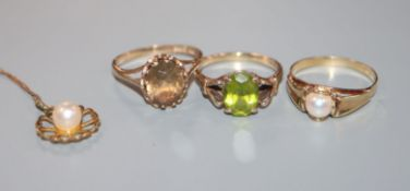 A 585 yellow metal and pearl ring, a 9ct gold and peridot ring, a similar topaz ring and a pearl