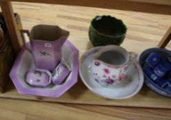 Three toilet sets and a jardiniere