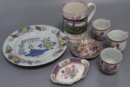 An English Delft plate, Chinese teaware, Sunderland pink lustre frog mug, etc.