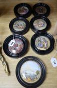 A group of six Victorian framed pot lids