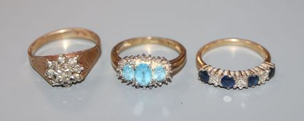 Three assorted 9ct gold and gem set dress rings, including small illusion set diamond cluster.