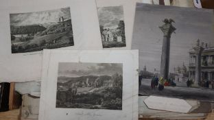 A folio of assorted 19th century drawings and monochrome watercolours, mostly landscapes, together
