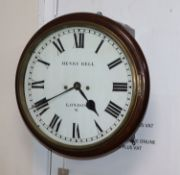 A mahogany wall clock, Henry Bell, London, having eight-day striking movement to white enamelled