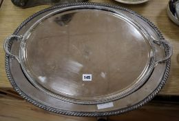 An Old Sheffield plated tray and meat dish