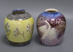 Two Doulton flambe vases tallest 14cm