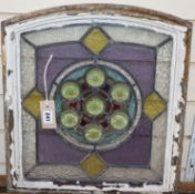 A small late Victorian stained glass window overall length 47cm width 43cm