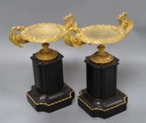 A pair of Victorian black slate and gilt metal side ornaments height 29cm