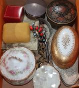 Mixed costume jewellery and other items including silver trinket box, niello bracelet and Limoges