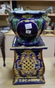A maiolica jardiniere and associated stand height 62cm