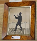 19th century English School, cut paper and watercolour, silhouette of the boxer Tom Cribb, 24 x