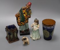 Two Doulton figures, a dog and two Doulton stoneware