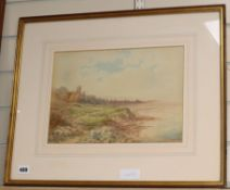 R Coleman, watercolour, Coastal landscape, signed and dated 1890, 25 x 35cm