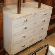 A painted pine chest of drawers W.100cm