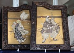 A pair of Japanese shibayama plaques